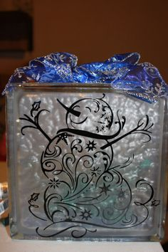 Snowman Glass Block with Vinyl and Lights by WorldofAKD on Etsy, $20.00