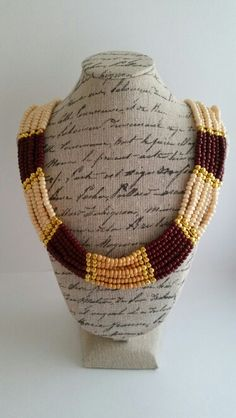 #beads #necklace #beige #gold #bordeaux Bordeaux, Beaded Necklace, Beige, Gold, Handmade, Crafts, Jewelry, Fashion, Beaded Collar
