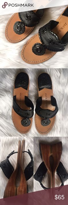 Jack Rogers Jacks Wedge Sandal in Black Condition: used. Normal wear. Lots of life left. • NO TRADES Jack Rogers Shoes Wedges