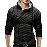 Merish Strickpullover Pullover Fellkragen Strickjacke Hoodie Slim Fit Herren 548 Anthrazit M
