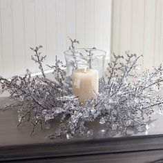 Shindigz Ice Crystal Centerpiece with Glass Globe Christmas Decoration Silver Christmas Decorations, Christmas Candles, Christmas Centerpieces, White Christmas, Christmas Crafts, Winter Wedding Centerpieces, Crystal Centerpieces, Winter Wonderland Centerpieces, Winter Wonderland Theme