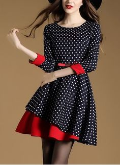 Cotton Polka Dot 1019042/1019042 Sleeves Above Knee Vintage Dresses (1019042) @ floryday.com