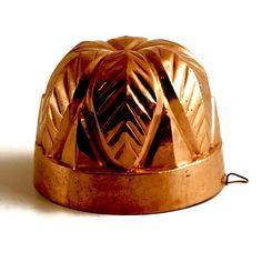 "Copper Dessert Mold - Circa 1900. 4-3/4"" High x 6-1/2"" Diameter."