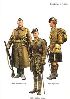 BRITISH ARMY - 1917, Highlander Regiment Private and Officer