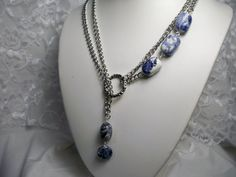 Blue Sodalite Lariat Necklace, love the double chain and asymmetry