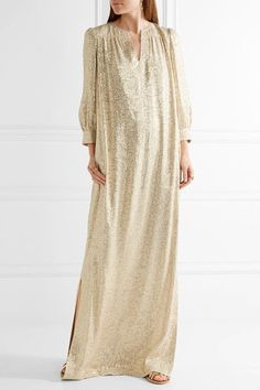 Elizabeth and James - Melaney Metallic Fil Coupé Silk-blend Kaftan - Beige - US