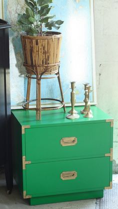 Emerald Green Campaign Nightstand