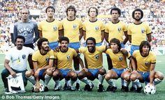 Brazil in the 1982 World Cup,  Valdir Peres, Leandro, Oscar, Falcão, Luisinho and Júnior,  Sócrates, Cerezzo, Serginho, Zico and Éder
