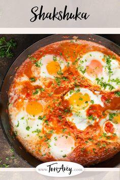 Shakshuka - Recipe and Video - Delicious Middle Eastern egg dish. Vegetarian, Gluten Free, Healthy, Delicious. | ToriAvey.com #MiddleEasternrecipe #eggs #shakshuka #vegetarian #TorisKitchen