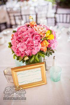 Pink hydrangea centrepiece
