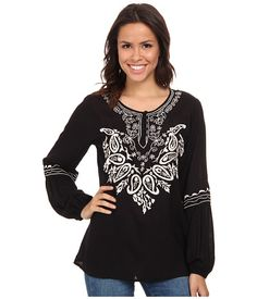 Scully Gabriella Embroidered Top Black - Zappos.com Free Shipping BOTH Ways