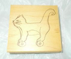 Rubbermoon Cat toy rubber stamp cats on wheels Mary Linn Kelly Wood mounted pets #Rubbermoon #CatsAntiquetoyscat