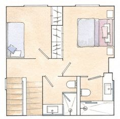 Plano del Tercer Piso . . . Plan of the Third Floor - No walls, the light and views are all over the whole house. . . . ¡Reforma Total! De Casa Gris a Juego de Alturas  (Total Reform! Grey House to Set Heights)
