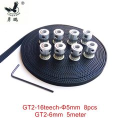 12.50$  Buy now - http://ali2y6.shopchina.info/go.php?t=32620157113 - 8pcs 16 teeth GT2 Timing Pulley Bore 5mm + 5Meters GT2 timing Belt Wide 6mm 2GT belt for RepRap Prusa Mendel 3D freeshipping 12.50$ #magazineonlinebeautiful