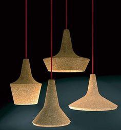 Candeiros suspensos de cortiça. A matéria prima do Alentejo - PORTUGAL. Designer CarloTrevisani.Lamps made of cork. Made in Portugal
