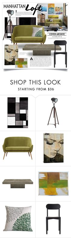 """""""Shades of Green 3147"""" by boxthoughts ❤ liked on Polyvore featuring interior, interiors, interior design, home, home decor, interior decorating, Pottery Barn, iCanvas and Resident"""