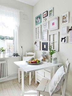 Norden Gateleg table by IKEA is a table with drop-leaves seats We've gathered a bunch of ideas to use it in your home decor. Dining Corner, Dining Nook, Small Dining, Small Space Living, Small Spaces, Ikea Norden Table, Norden Gateleg Table, Sweet Home, Folding Walls