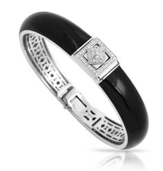 Czarina Collection; Black Bangle Bracelet; Hand-painted black Italian enamel with white stones set into rhodium-plated, nickel allergy-free, 925 sterling silver.  A declaration of the royalty you are.