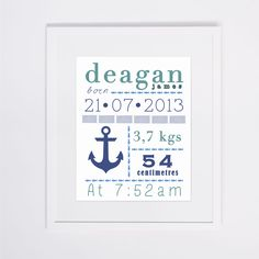 Custom name print for nursery available at http://www.happinest.co.za/product/nautical-boys-custom-name/