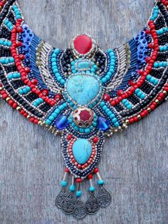 Ani Jewelry Designs Egypt inspired bead embroidery necklace