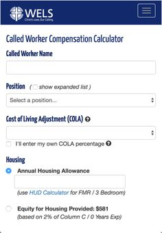 WELS Called Worker Compensation Calculator developed for WELS to allow churches and schools to calculate compensation data for their pastors, teachers and staff ministers. Graphic Design Projects, Calculator, Over The Years, Schools, Positivity, Teacher, Wels, Professor