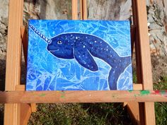 Narwhal Original Painting  Narwhal Art  Narwhale  by HeartsAndKeys, $15.00