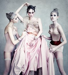 Sasha Pivovarova, Magdalena Frackowiak, Jac Jagaciak & Maryna Linchuk in Dior Couture by Patrick Demarchelier