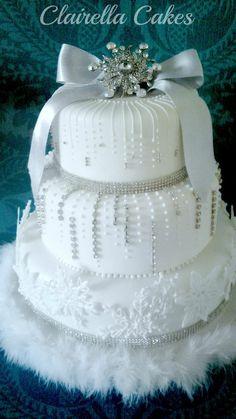 Winter Wonderland Wedding Cake made for a Christmas Eve wedding! Royal iced fruit cake