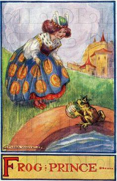 RARE Frog Prince. Adorable Art Deco Fairy Tale Vintage Illustration. Fairy Tale art by Flora White