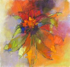Coneflower Variation 14x14 pastel on paper by Debora L. Stewart sold