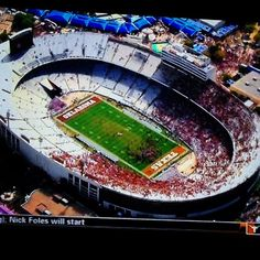 Aerial view of the aftermath of the 36-20 #Longhorns victory at the #RedRiverRivalry. What a beautiful sight.
