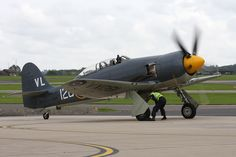 Royal Navy Historic Flight's Hawker Sea Fury.The Sea Fury was the last propeller-driven fighter to serve with the Royal Navy and is one of the fastest production single-piston engined aircraft ever built, capable of well in excess of 400mph!
