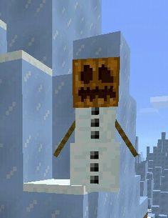 A snowman! You can create them by two blocks of snow and a pumpkin head. Pumpkin Snowmen, Pumpkin Head, A Pumpkin, Snowman, Minecraft Pumpkin, Diy Minecraft Birthday Party, Create, Snowmen