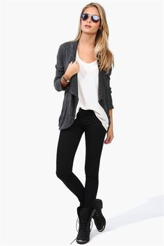 Open Cardigan, Skinny Jeans & Combat Boots