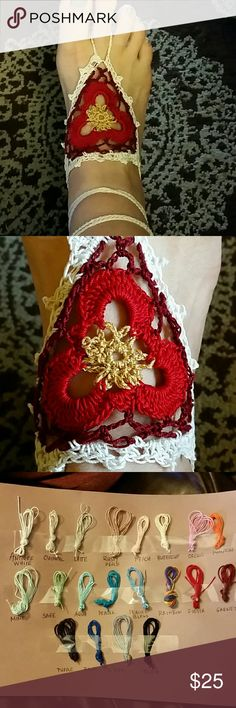 Crocheted Barefoot Sandals Handmade by me (Nicole). My version of the sold out Free People sandals. Tagging Free People for exposure. 100% cotton. Shown in gold, fiesta, garnet and antique white. Comment color choice(in order from center to edge) for a new listing. Free People Accessories