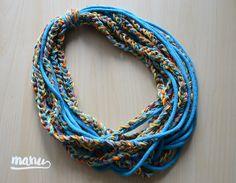 Zamotka w odcieniach błękitu. #zamotka #naszyjnik #manu #manushop #jewellery #crochet #handmade #etno