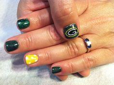 #Green Bay Packers #Nail Art  #Football Nails by Debbie at Savante Salon  Gilbert, Arizona