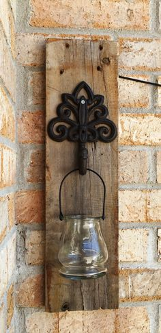 Reclaimed Pallet Candle Sconce by ChiselandHammer on Etsy
