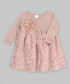 Loving this Misty Rose & Taupe Flower Gabriella Lace Dress - Infant on #zulily! #zulilyfinds