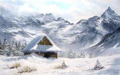 Romantic Paintings, Nature Paintings, Beautiful Paintings, Landscape Paintings, Winter Cabin, Winter House, Snow Scenes, Winter Scenes, Villa Romaine