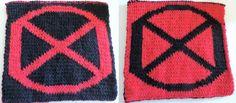 2014 Geek-A-Long: week 9 X-Men | X-Men symbol knitting pattern with color chart