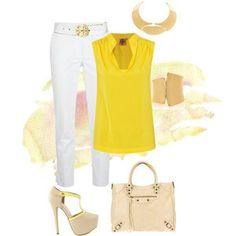 Nice yellow shirt with white pants.
