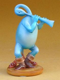 This sculpture adaptation replica, Blue Flutist, from Hieronymus Bosch's Last Judgement appears on the left hand side on the middle panel of the triptych. He is a cheerful blue creature which adds lus
