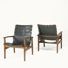 Anonymous; Jacaranda, Leather and Brass Lounge Chairs, 1950s.