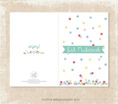 Digital Download POP PRINT Eid Mubarak Card by LittleWingsGallery, $3.00