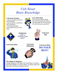 Cub Scout Basic Knowledge - Bobcat requirements