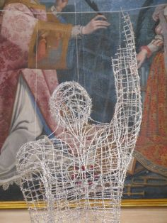 "Unprotected Love. 2012. Barbed wire and ruby red swarovski crystal hearts.  160x70x50 Was part of a museum show "" Il Sogno della Passione""  dedicated to Cyrano de Bergerac at Castelfiorentino, #barbedwire #wireart #swarovskicrystals #anthonymoman #cyranodebergerac"