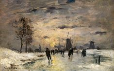 skating-in-holland-work-by-imitator-of-johan-barthold-jongkind-c-1890-1900 Johan Barthold Jongkind (3 June 1819 – 9 February 1891) was a Dutch painter and printmaker. He painted marine landscapes in a free manner and is regarded as a forerunner of Impressionism.