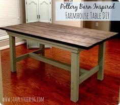 DIY farmhouse table inspired by Pottery Barn