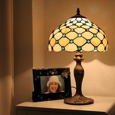 Gemstones and Amber Tiffany Bed Lamp